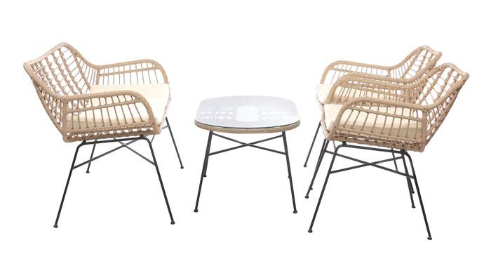 Set tavolino con sedie in acciaio